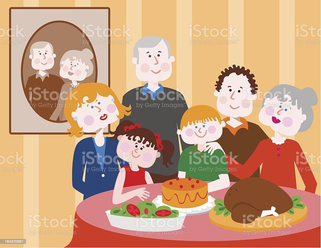 Family Dinner royalty-free stock vector art