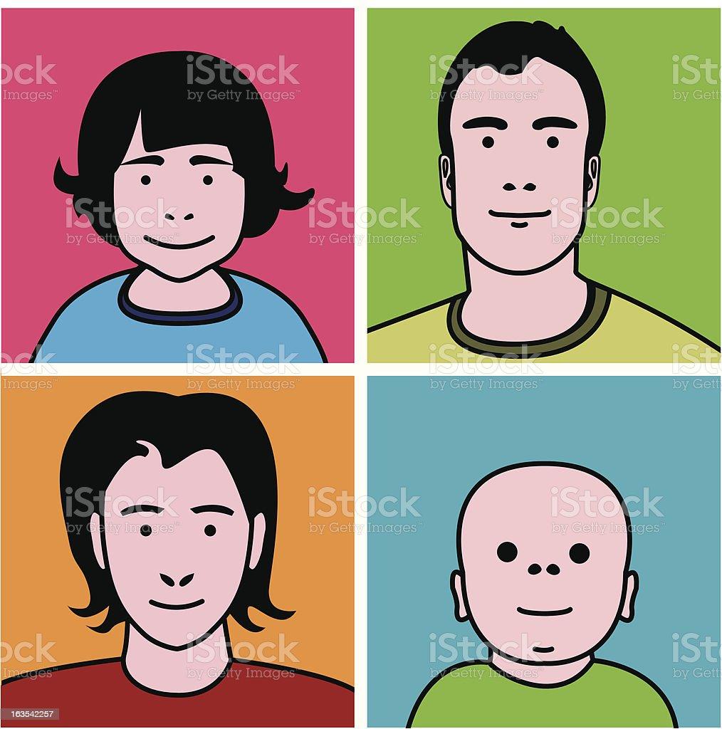 Family Faces [vector] royalty-free stock vector art