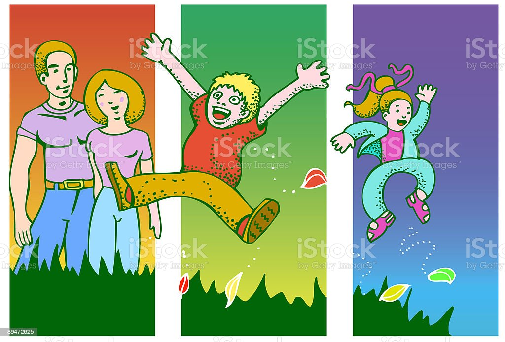 Family fun in the park royalty-free stock vector art