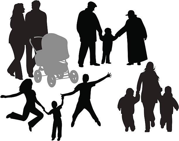 illustrazioni stock, clip art, cartoni animati e icone di tendenza di la famiglia - nonna e nipote camminare