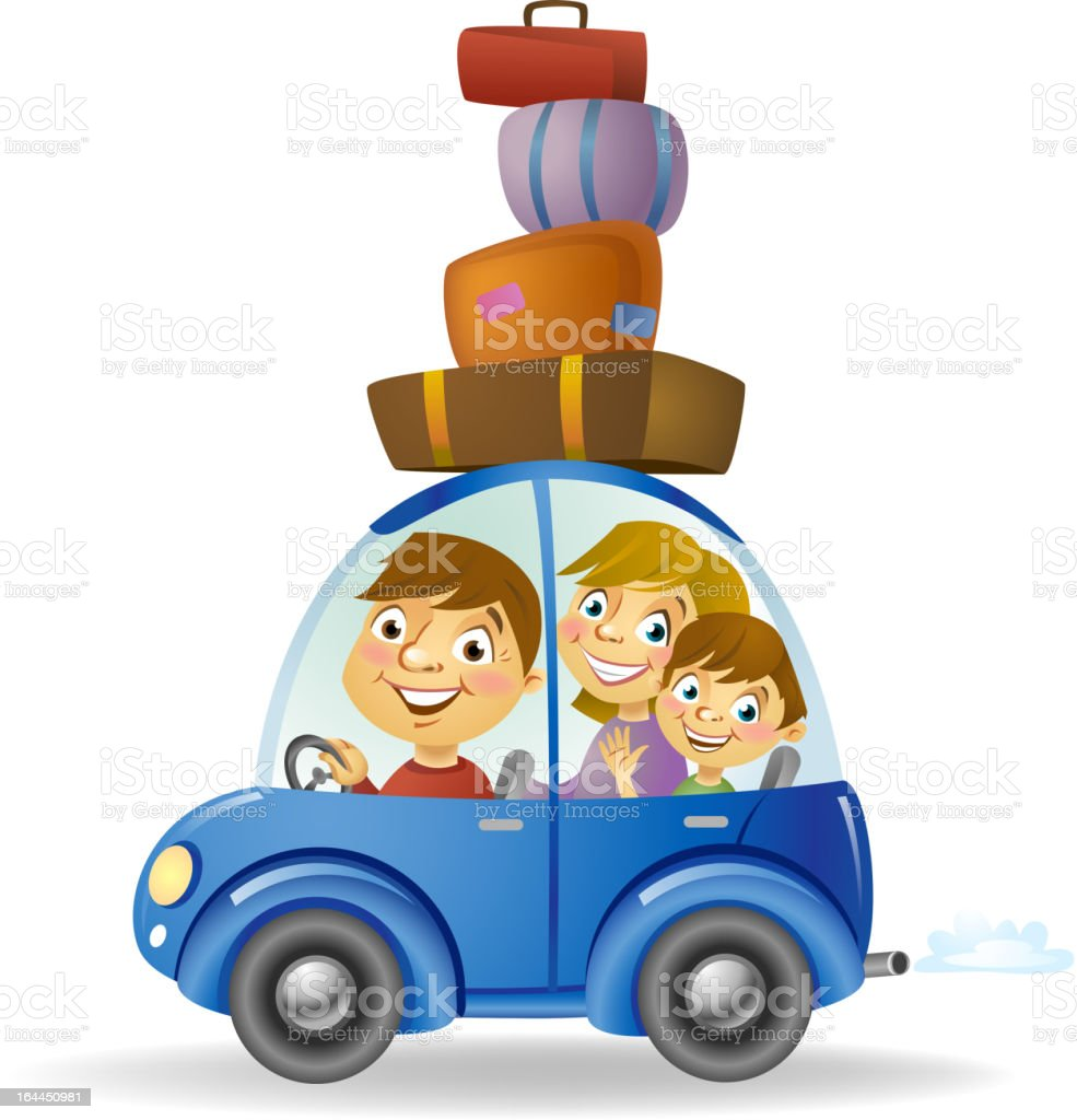 Family in the Car royalty-free stock vector art