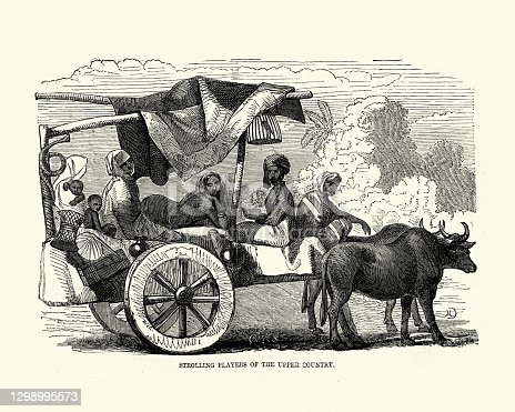 Vintage illustration of Family in travelling actors in ox drawn cart, India, 1850s 19th Century.