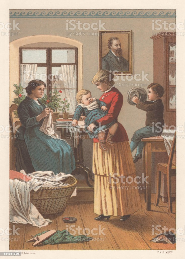 Family life in the past, lithograph, published in 1886 vector art illustration