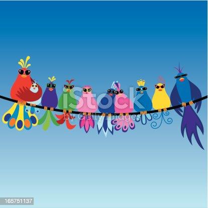 istock Family of birds wearing sunglasses 165751137
