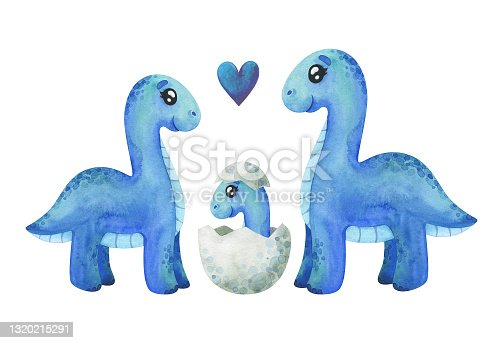 A family of blue diplodocus with a baby in its shell. Children's watercolor illustration on a white background. Dino clipart for decor, stickers, prints with historical animals