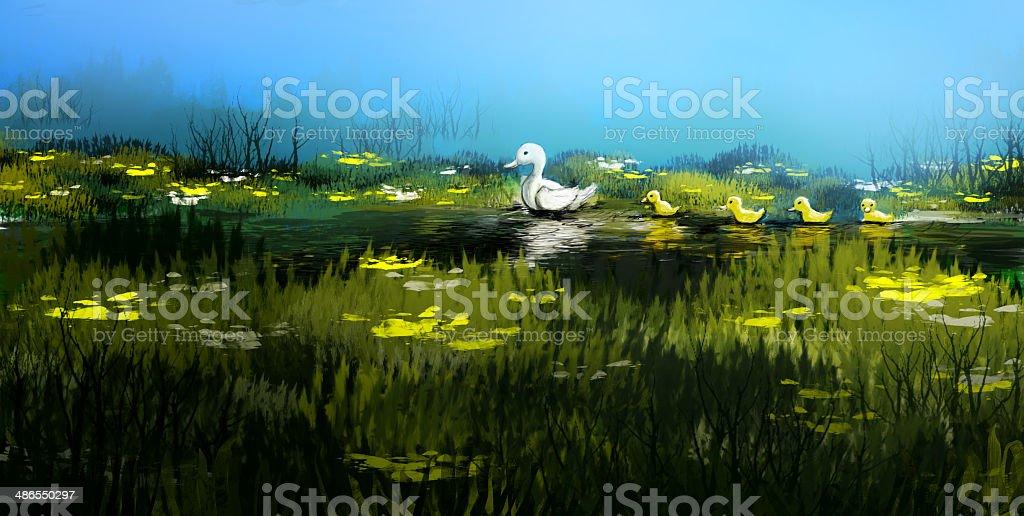 Family of ducks in a brook. vector art illustration