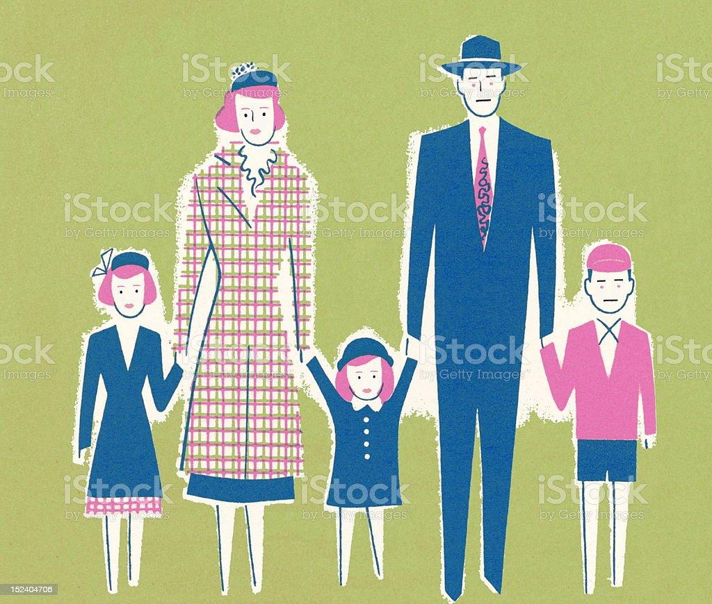Una familia de cinco - ilustración de arte vectorial