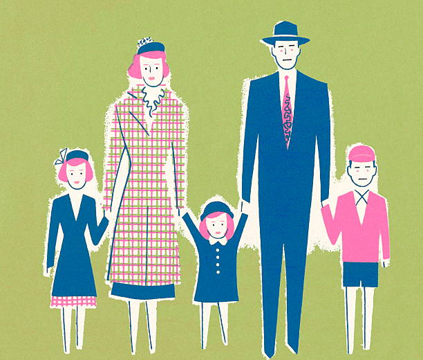 a family of five - family reunion stock illustrations, clip art, cartoons, & icons