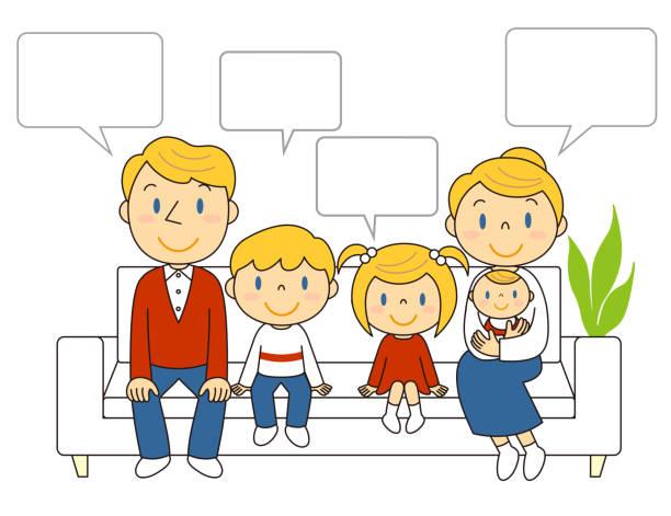 ソファーに座っている5人家族 イラスト Illustration of a family of five sitting on a sofa ベクターアートイラスト