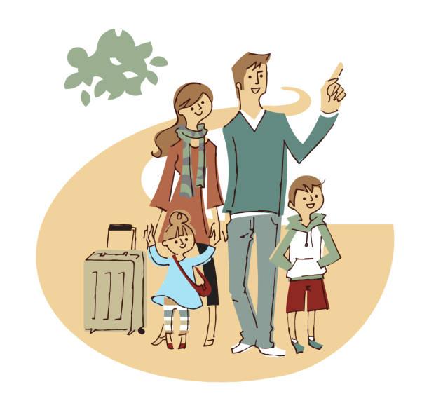 旅行に行く4人家族 - 家族 日本点のイラスト素材/クリップアート素材/マンガ素材/アイコン素材