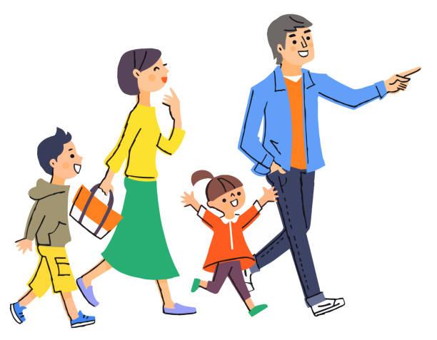 目的地に向かう4人家族 - 家族 日本点のイラスト素材/クリップアート素材/マンガ素材/アイコン素材