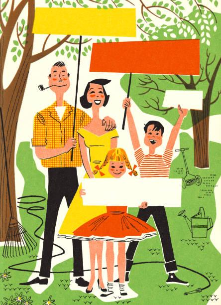 ilustrações, clipart, desenhos animados e ícones de família de quatro segurando cartazes - reunião de família
