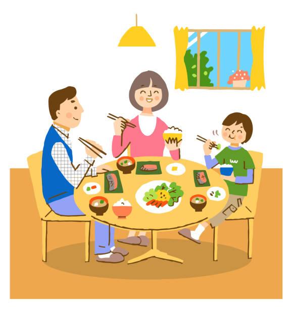 ilustrações de stock, clip art, desenhos animados e ícones de family of three eating japanese food with a smile - woman eating salmon