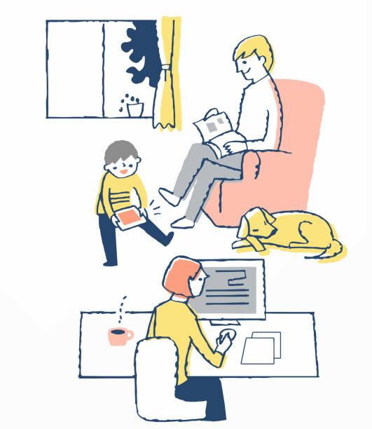 部屋の中でそれぞれを楽しむ3人の家族 - 家族 日本人点のイラスト素材/クリップアート素材/マンガ素材/アイコン素材