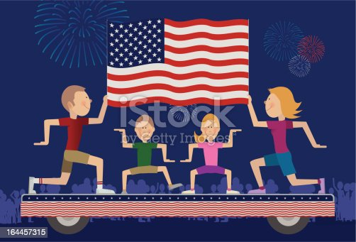istock Family on float in 4th of July Parade. 164457315