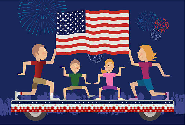 family on float in 4th of july parade. - family 4th of july 幅插畫檔、美工圖案、卡通及圖標