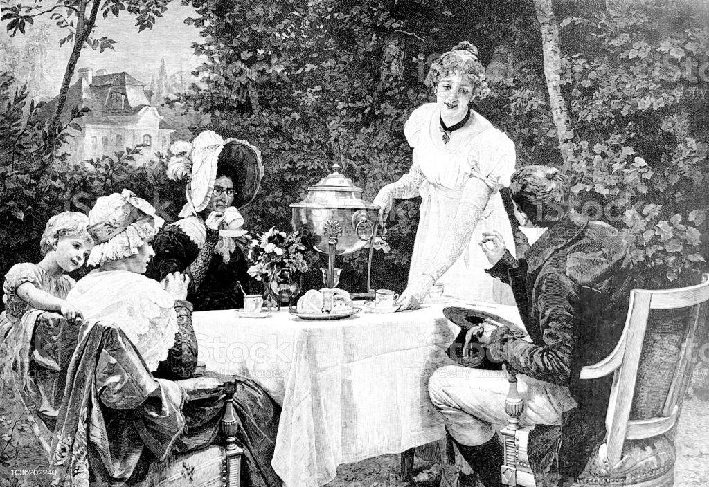 Familie Im Freien Im Garten Kaffee Oder Tee Zu Trinken Stock Vektor