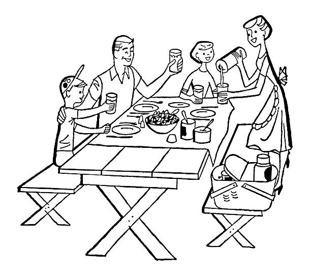 Family Picnic vector art illustration