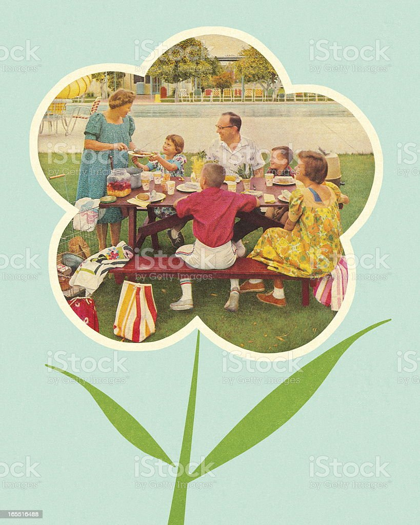 Family Picnic in a Flower royalty-free stock vector art