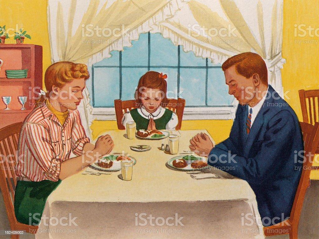 Família orar antes do jantar - ilustração de arte em vetor