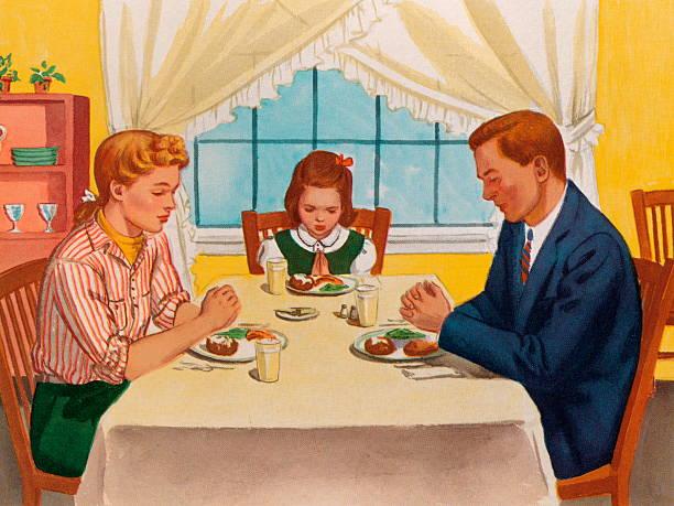 ご家族でのディナーの前に祈っ - 家族での夕食点のイラスト素材/クリップアート素材/マンガ素材/アイコン素材