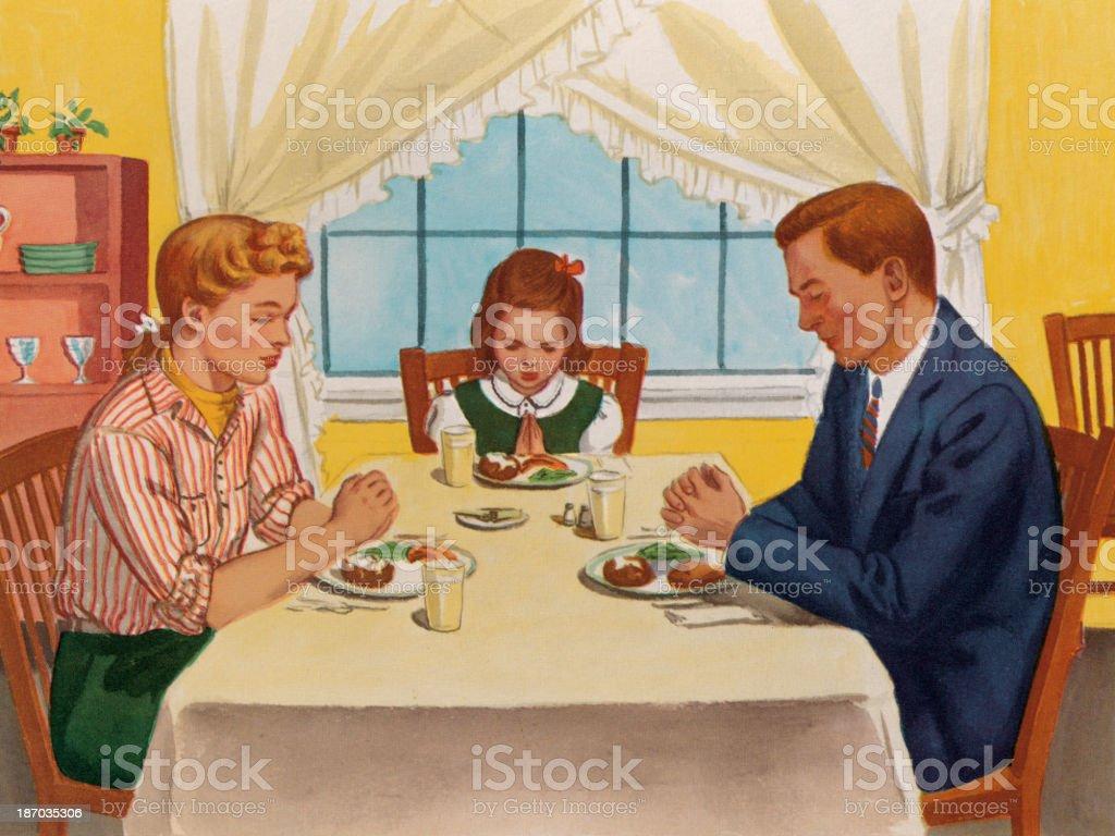 Familia rezar antes de la cena. - ilustración de arte vectorial