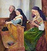 Family prays in church