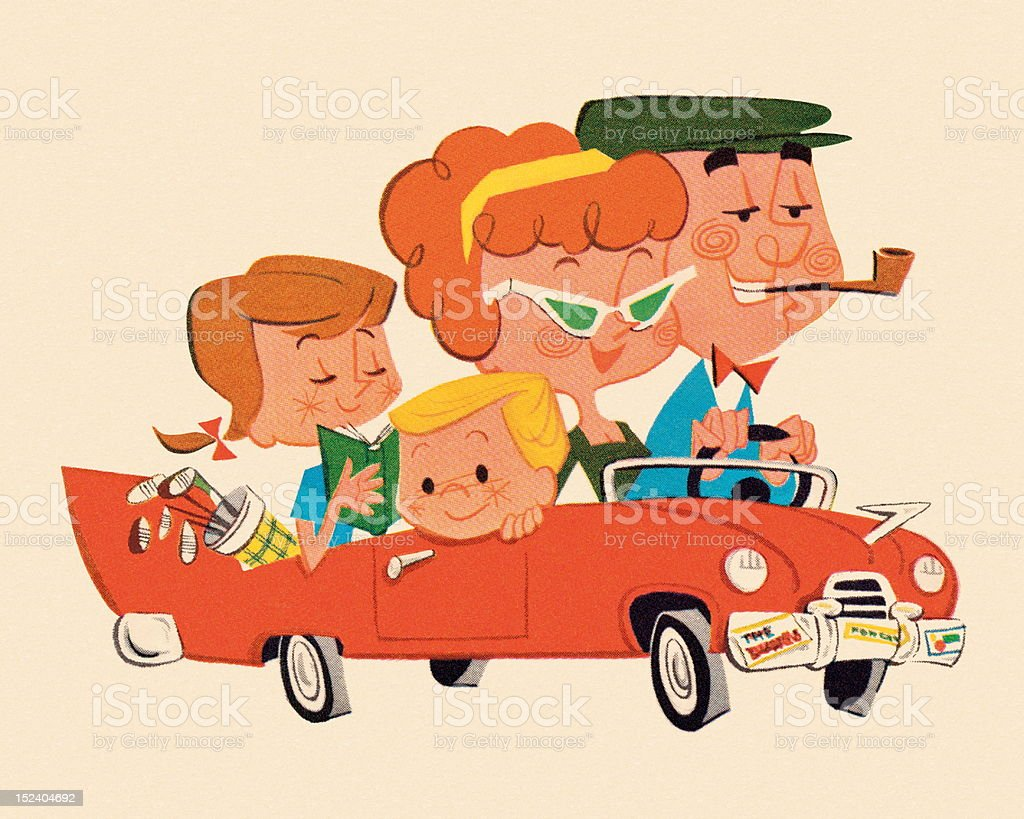 Family Riding in a Car vector art illustration