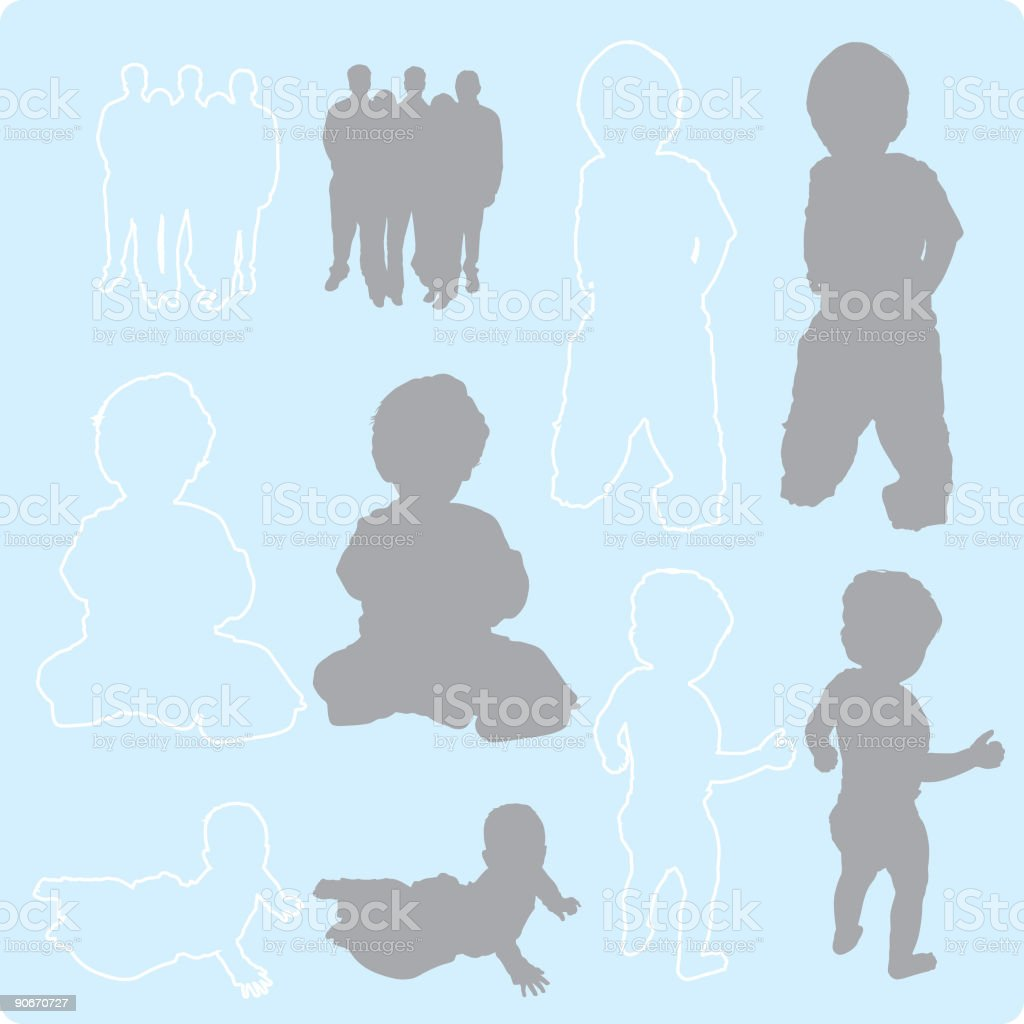 Family Silhouettes 1 (vector) royalty-free stock vector art