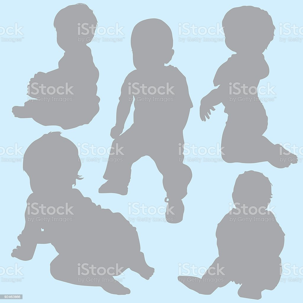 Family Silhouettes 2 (vector) royalty-free family silhouettes 2 stock vector art & more images of baby