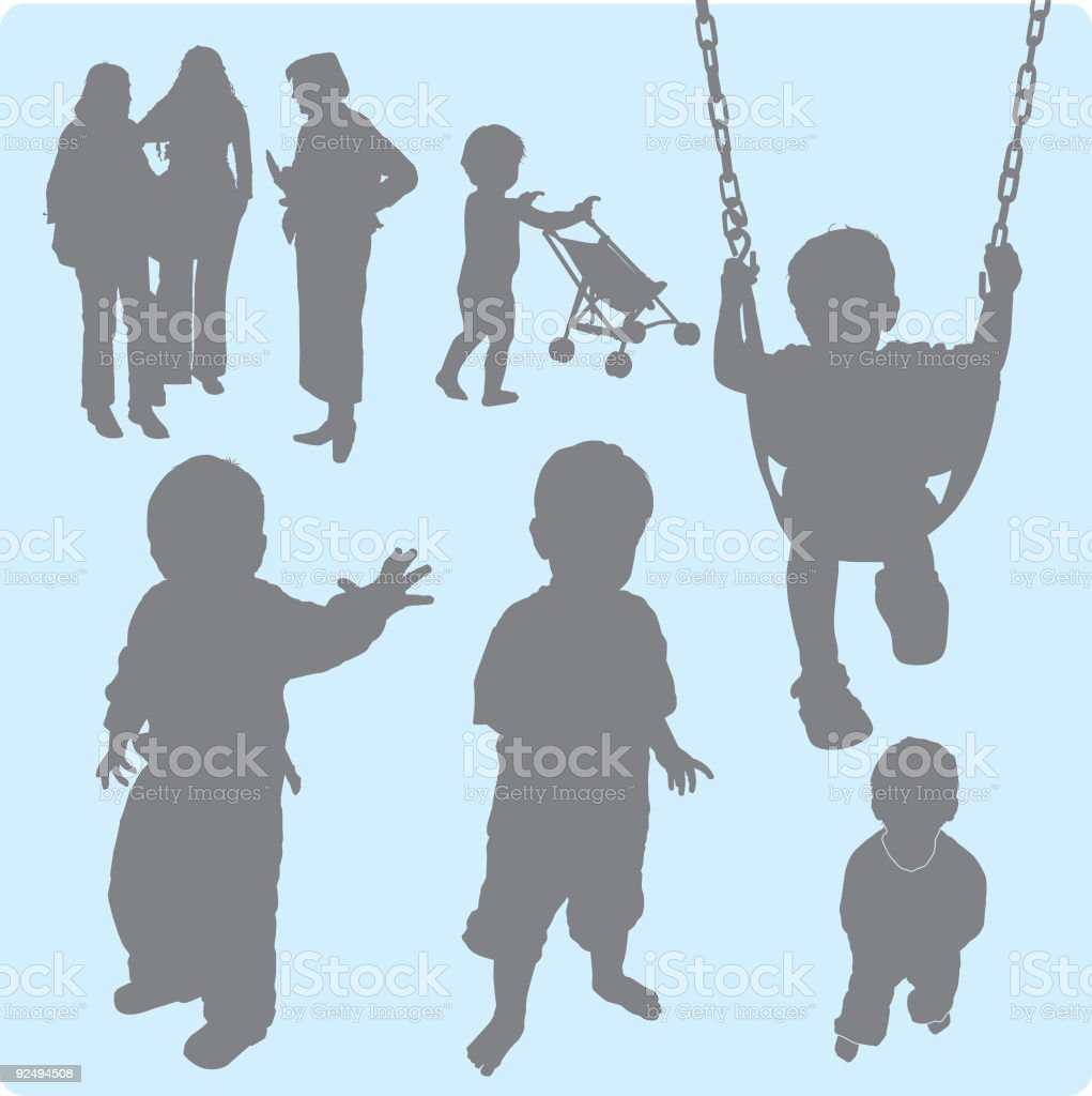 Family Silhouettes 3 (vector) royalty-free family silhouettes 3 stock vector art & more images of adult