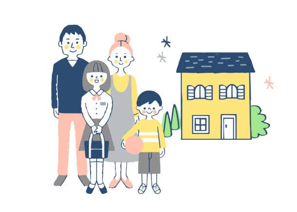 家の前に立つ家族 - 家族 日本点のイラスト素材/クリップアート素材/マンガ素材/アイコン素材