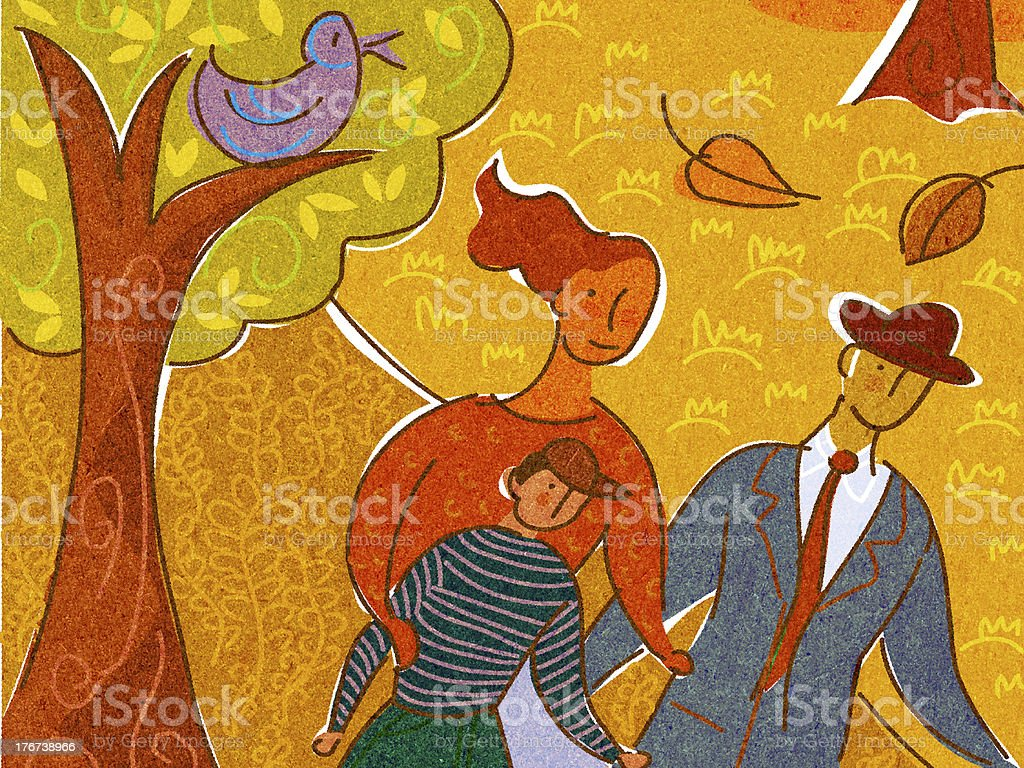 family taking a walk together in the autumn royalty-free stock vector art