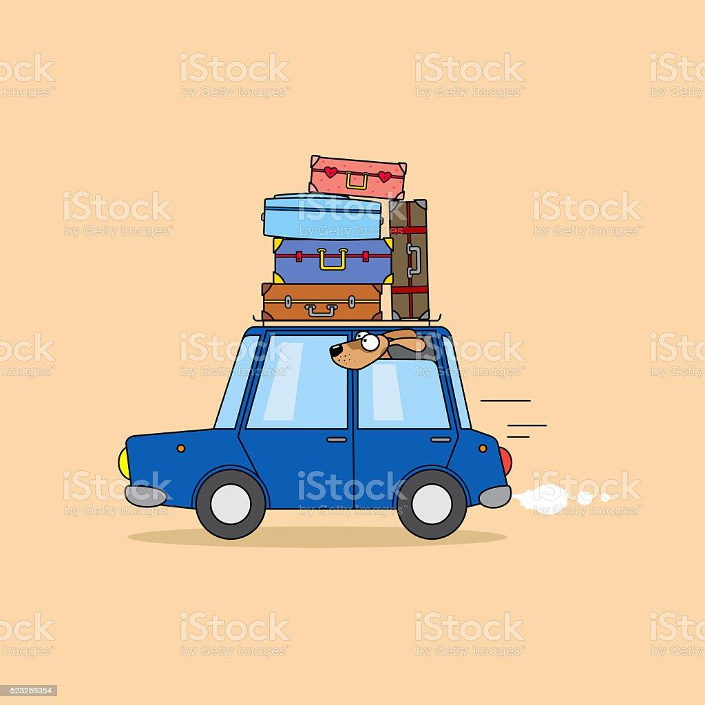 Family travel by car. vector art illustration