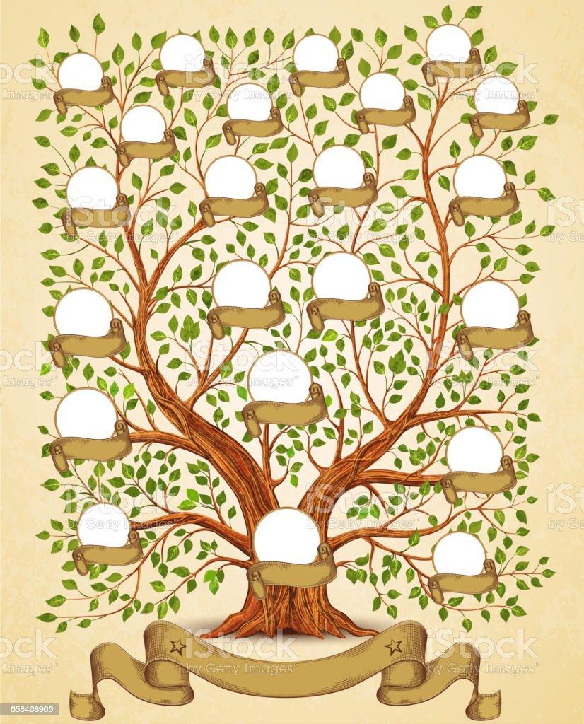 Ilustración de Ilustración Vintage De La Plantilla De árbol ...