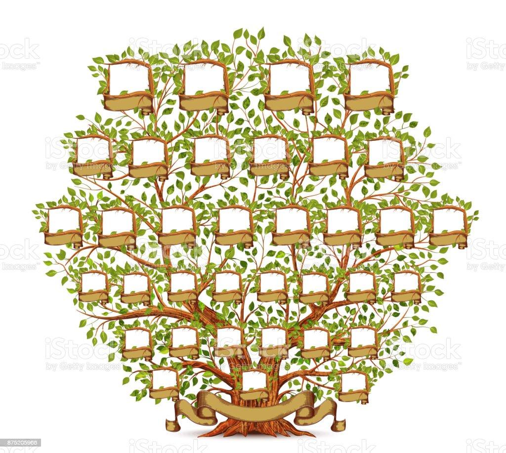 Ilustración vintage de la plantilla de árbol genealógico - ilustración de arte vectorial