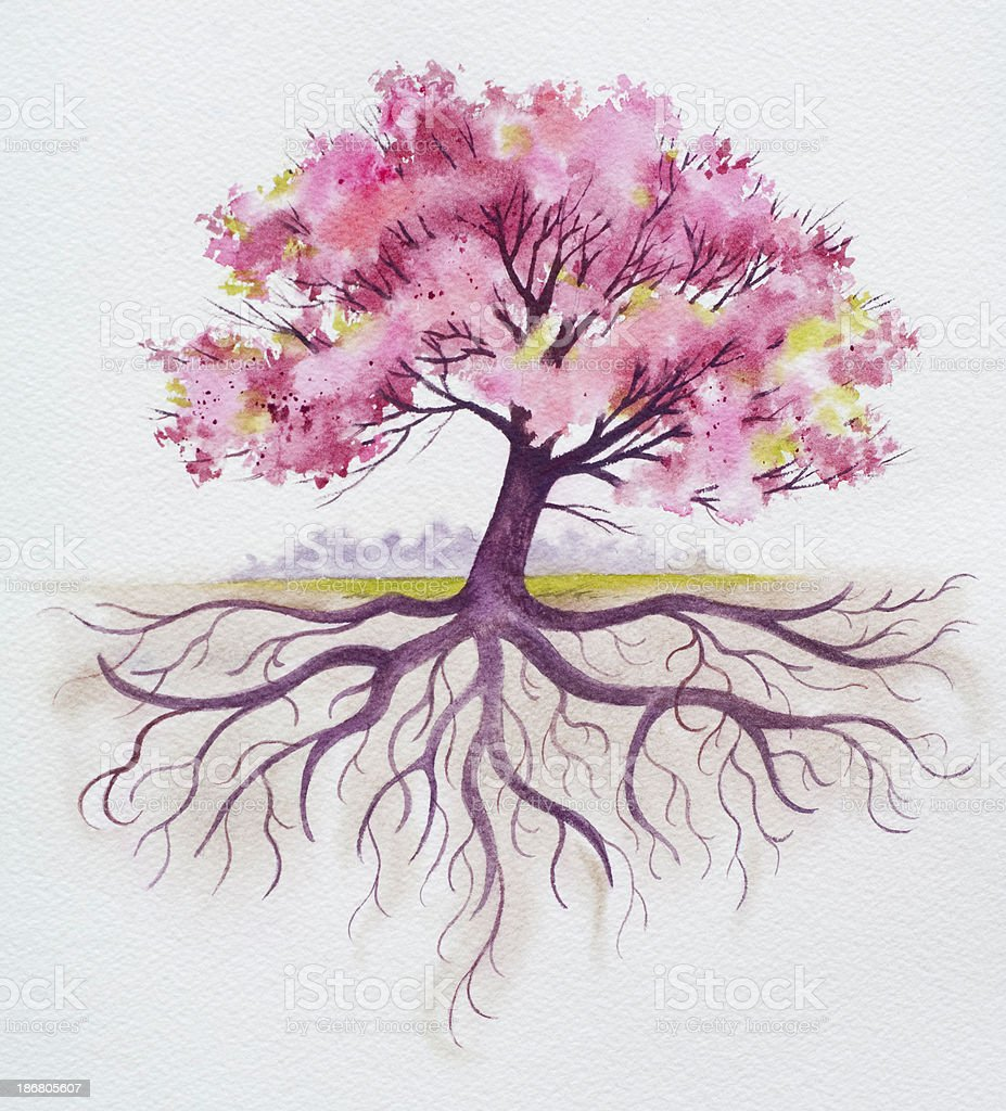 Family Tree With Roots vector art illustration