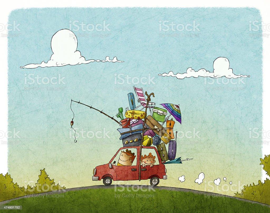 Vacaciones para la familia - ilustración de arte vectorial