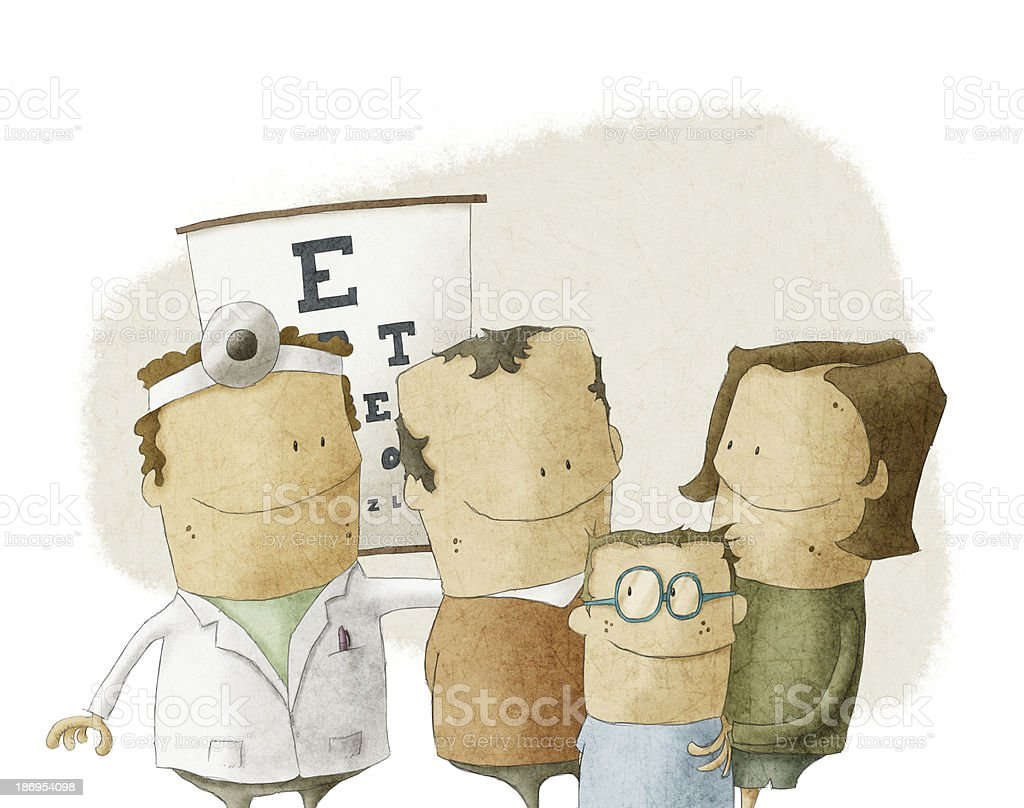 Family visit oculist doctor royalty-free stock vector art