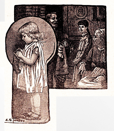 Girl, shown through a keyhole, gets treats from Christmas stocking. Background montage shows extended family with stockings. Illustration published 1887. Source: Original edition is from my own archives. Copyright has expired and is in Public Domain.