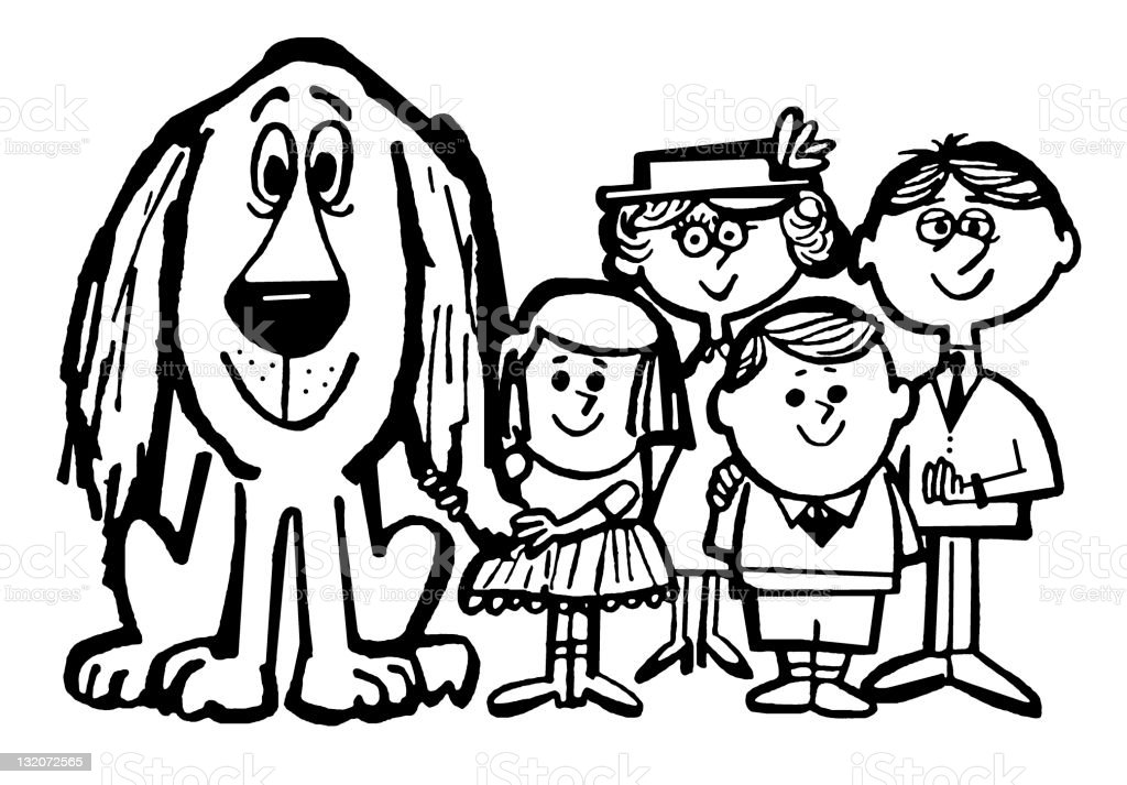 Family With Dog royalty-free stock vector art