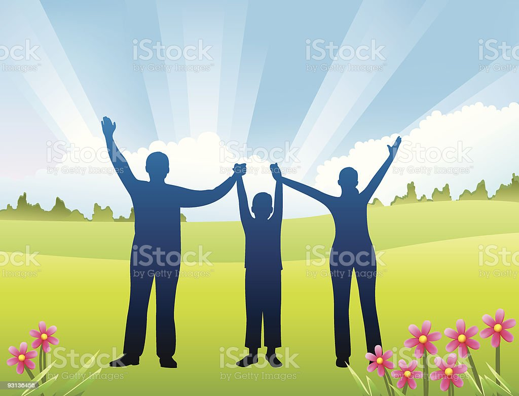 family with son hands up vector art illustration