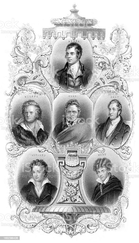 Famous British Poets and Wirters vector art illustration
