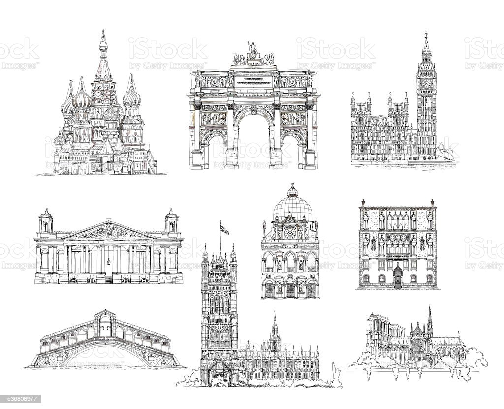 Famous buildings of Euripe, sketch collection. Paris, Venice, Moscow, London vector art illustration