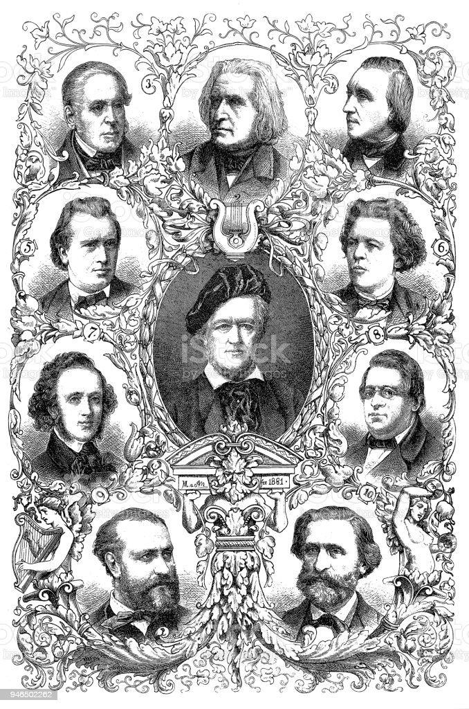 Famous composers of the 19th century:richard wagner, franz liszt, daniel francois esprit auber, edvard h. grieg, johannes brahms, anton rubinstein, felix mendelsohn-bartholdy, niels w. gade, chrles gounod, giuseppe verdi vector art illustration