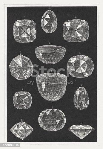 istock Famous diamonds: Orlov, Hope, Koh-i-Noor, Regent, Florentine, a.o., pupl. 1875 473583240