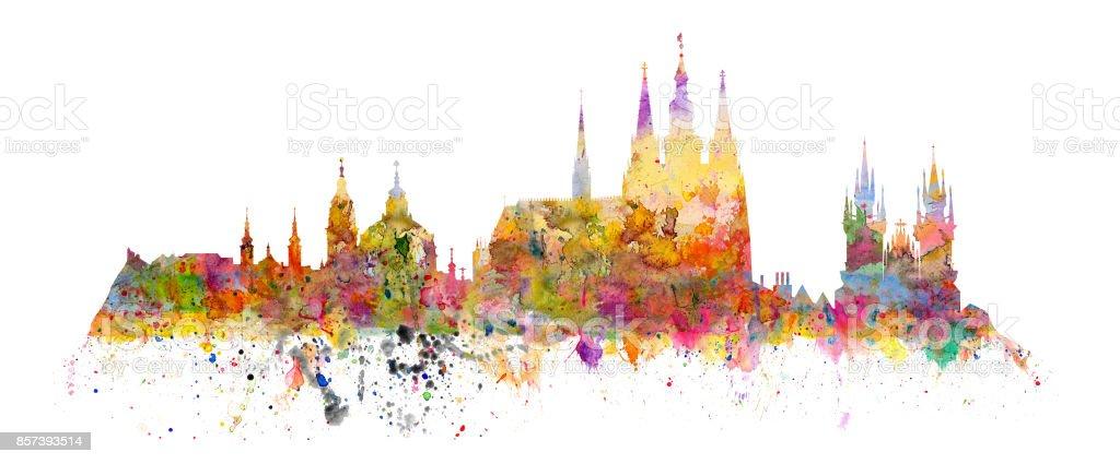 Famous landmarks of Prague - Hradcany - Cathedral of Saint Vitus, church of saint Nikolas, church of Virgin Mary front Tyn vector art illustration