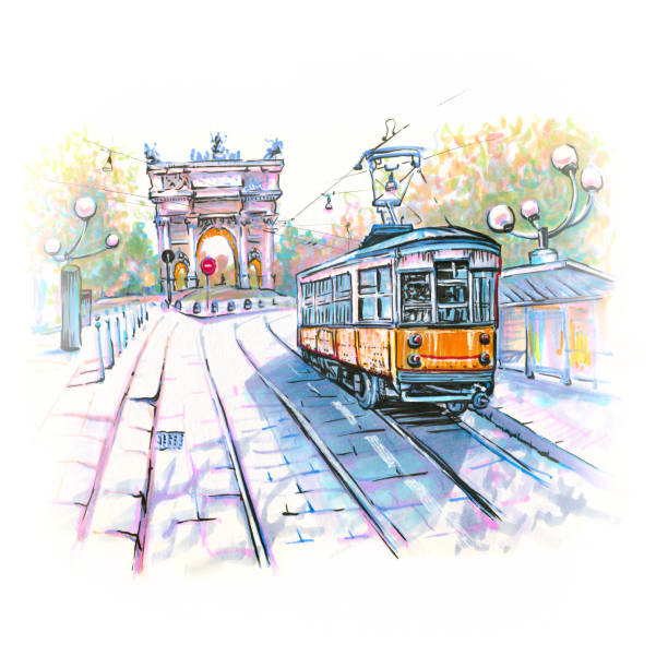 illustrazioni stock, clip art, cartoni animati e icone di tendenza di famous tram in milan, italy - milan railway