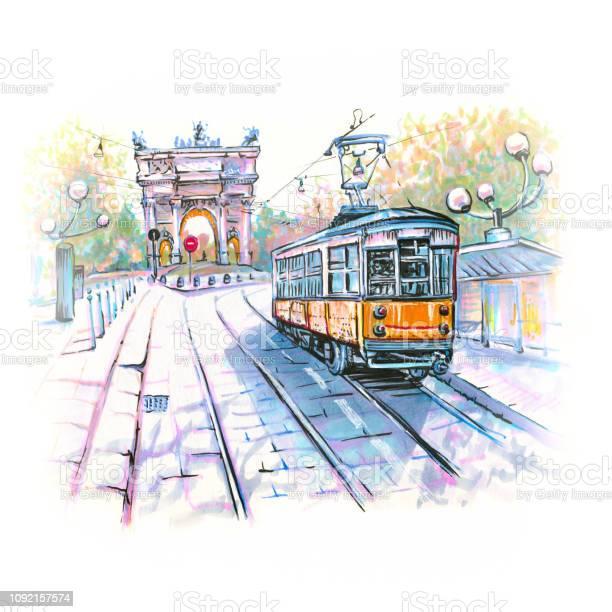 Famous Tram In Milan Italy - Immagini vettoriali stock e altre immagini di Ambientazione esterna