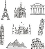 Set of hand drawn famous international landmarks.